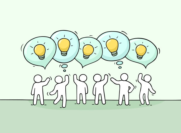 people with speech bubbles and lamp ideas